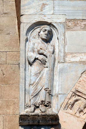 Saint Roland, statue on the portal of the Cathedral dedicated to the Blessed Virgin Mary under the designation Santa Maria Matricolare in Verona, Italy