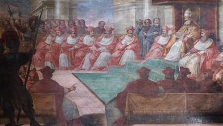 Council of Mantua of 1459, fresco in Mantua Cathedral dedicated to Saint Peter, Mantua, Italy Editorial