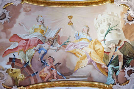 Saint Catherine and Saint Barbara, fresco by Matthaus Gunther in Benedictine monastery church in Amorbach, Germany Éditoriale