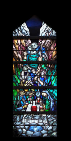 Spirit of God awakens a new life, both dead and alive, stained glass window by Sieger Koder in church of Saint John in Piflas, Germany