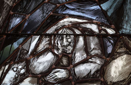 Spirit of God awakens a new life, both dead and alive, detail of stained glass window by Sieger Koder in church of Saint John in Piflas, Germany