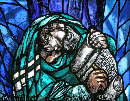 The prophet Isaiah, detail of stained glass window by Sieger Koder in St. James church in Hohenberg, Germany Editorial