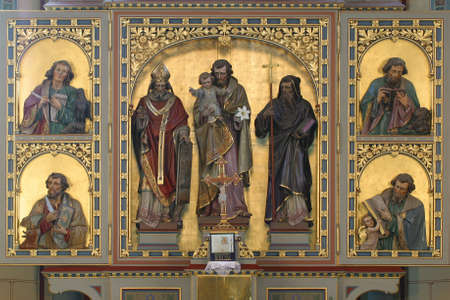 High altar in the parish church of Saint Joseph in Slatina, Croatia