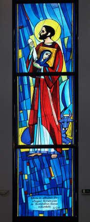 Saint Luke the Evangelist, stained glass window in the Church of Saint Benedict in Micevec, Zagreb, Croatia