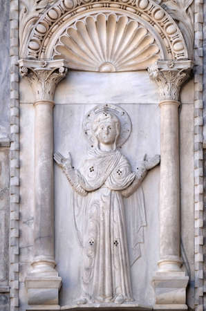 Virgin Mary, north side of St. Mark's Basilica, St. Mark's Square, Venice, Italy Stock fotó