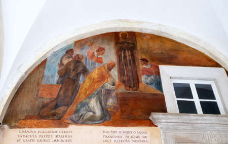 Frescoes with scenes from the life of St. Francis of Assisi, cloister of the Franciscan monastery of the Friars Minor in Dubrovnik, Croatia