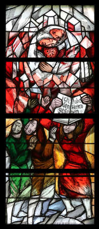 Hope and resurrection, detail of stained glass window by Sieger Koder in Chapel in the Jesuit cemetery in Pullach, Germany