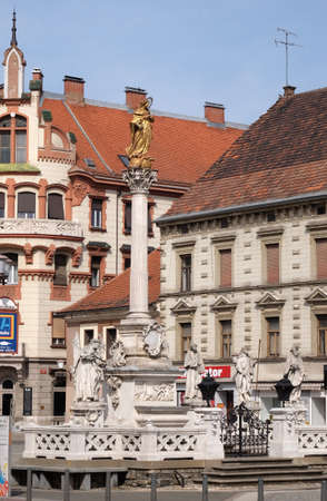 Plague column at Main Square of the city of Maribor in Slovenia Editoriali
