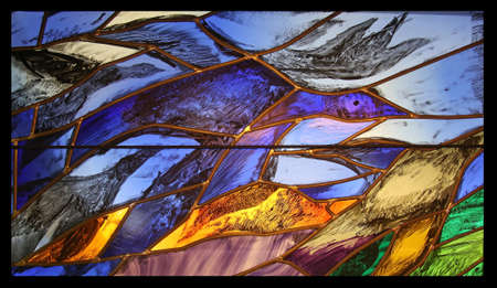 View the elements of life, detail of stained glass window by Sieger Koder in Benediktbeuern Abbey, Germany