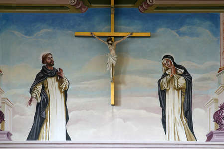 St. Dominic and Blessed Osanna of Cattaro under the cross, Dominican Monastery in Zagreb, Croatia