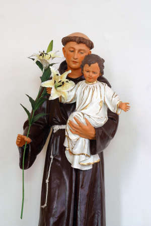 St. Anthony of Padua holds baby Jesus, statue in the parish church of St. Michael the Archangel in Mihovljan, Croatia
