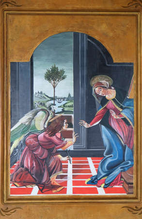 Annunciation of the Virgin, altarpiece in the Catholic church of St. Cyril, Methodius and St. Benedict in Ohrid, Macedonia 報道画像