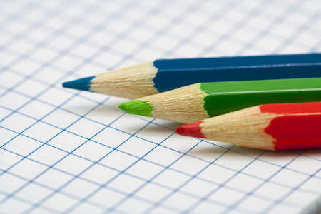 Three pencil on paper  RGB  Macro  Stock Photo