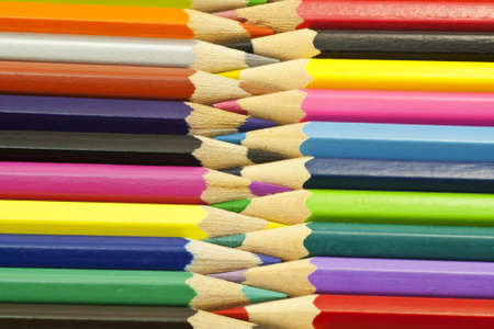 Large set of colored pencils  Macro