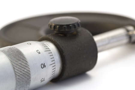 Close-up of the measuring scale of micrometers