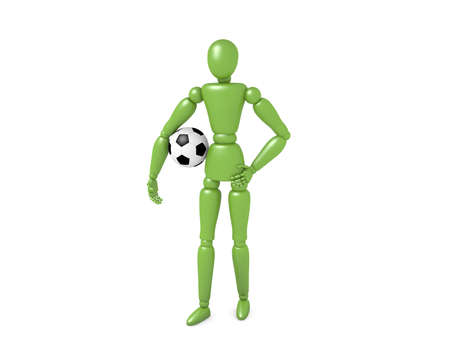 The Green Man with soccer ball.