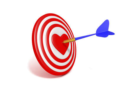 In the center of the target is the heart. Assegai accurately into the goal. Stock Photo