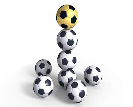Gold soccer ball among ordinary. It is a leader. It is at the top.