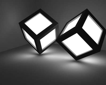 Two cubes stand at the tops, at them squares on the sides shine. Stock Photo