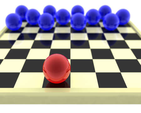 against all odds: Checkers. The maximal odds is given. One figure against all. Stock Photo