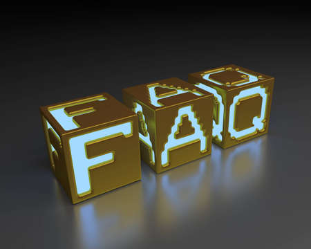 Glowing FAQ inscription composed of cubes. Images in high resolution. Stock Photo