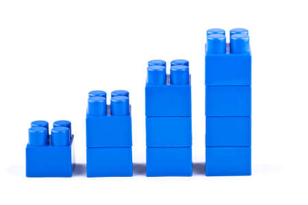 Blue graph of the plastic cubes Stock Photo