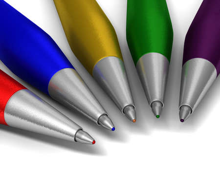 Bright color ballpoints on white to odds with a shadow. Stock Photo