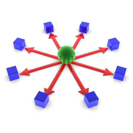 Ball main. It distributes tasks. Network is created. Stock Photo - 15651438