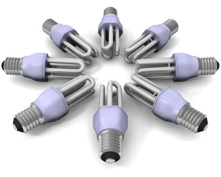 The group of lamps lays on a white surface  Stock Photo