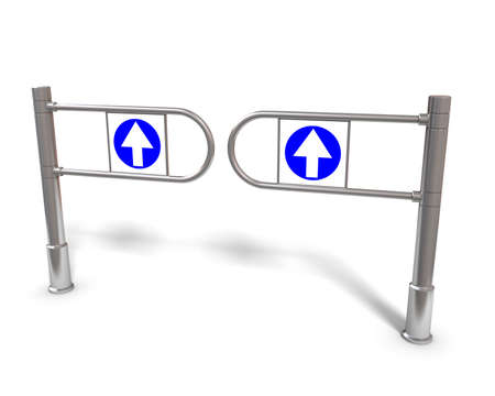 Three-dimensional image of the turnstile on a white background. Stock Photo