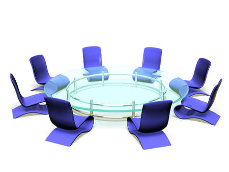 Modern, stylish chairs around of a glass table. A place for negotiating.