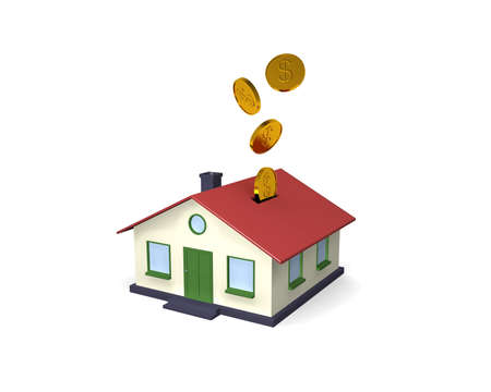 Putting your money where it counts with home investments. A simple 3D house coin bank with coins falling into it from above. Isolated on White. photo