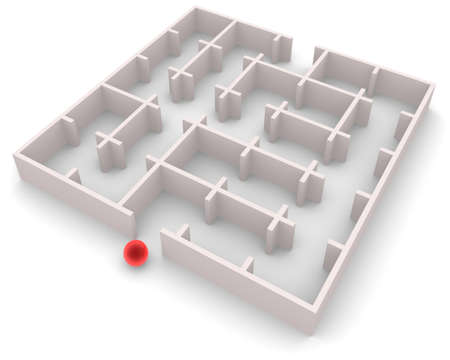 Red ball entering a maze. Maze has an exit. It can be passed. Maze idle time. Stock Photo - 15778382