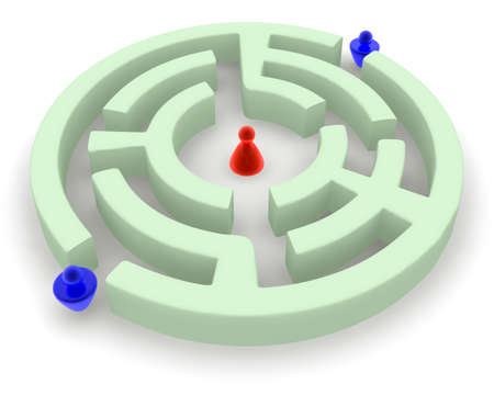 Competition. Two men aspire to pass through a labyrinth to the woman. Who will be the first?? Stock Photo - 15778388