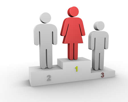 A woman leader. Woman wins men.
