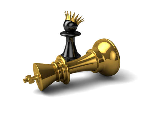 Old king died. Now a new king pawn. Stock Photo