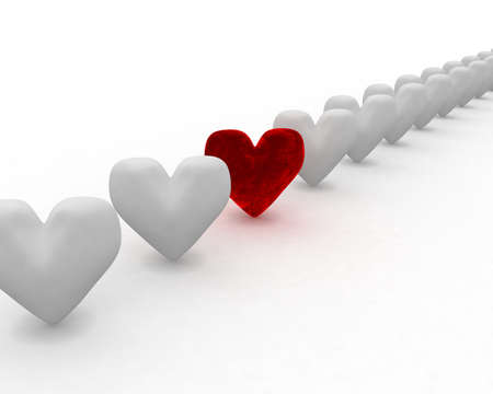 The concept: among grey and ordinary-looking hearts (or people) always will be though one bright and original.