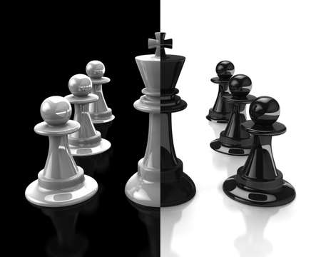 Abstract: duplicity, betrayal, a king on the opposing sides.