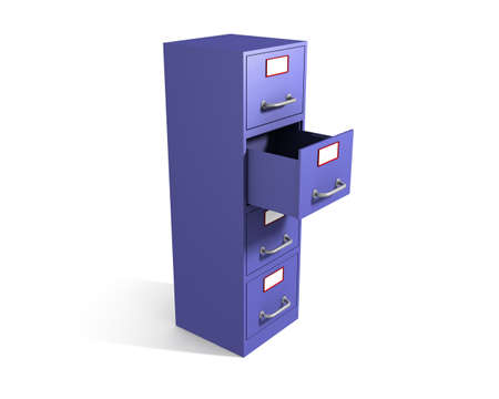 3D rendered file drawer with opened box over white background