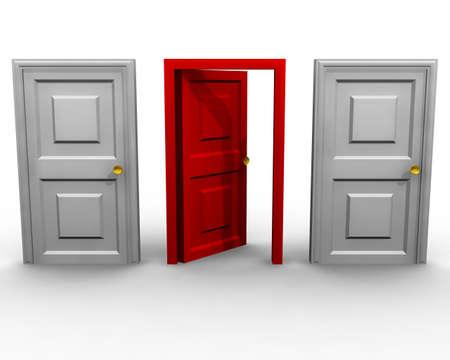 Three doors on a white background Stock Photo
