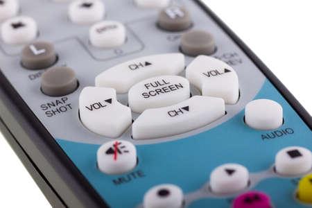 Photo remote control. White button full screen in focus.