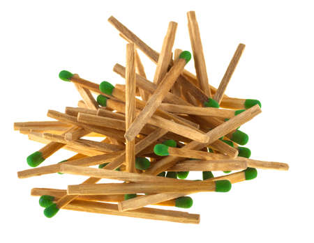 Heap of matches on a white background.