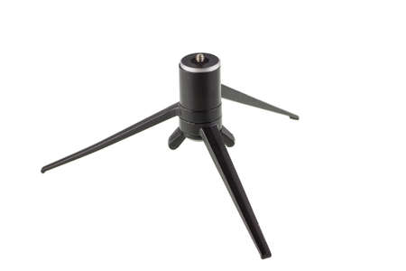 Old small tripod on a white background. Stock Photo