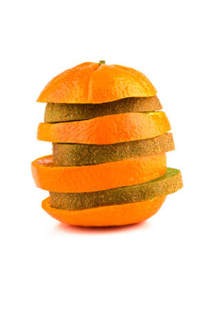 Comparing kiwi and tangerine on a white background. Stock Photo