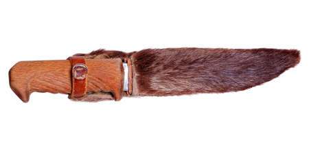 hides: Hunting knife in the sheath of deer hides Stock Photo