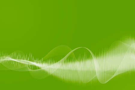 Green abstract background from lines and waves