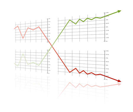 Success and crisis on a white background with red and green lines