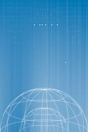 World connection, blue toned abstract background Stock Photo