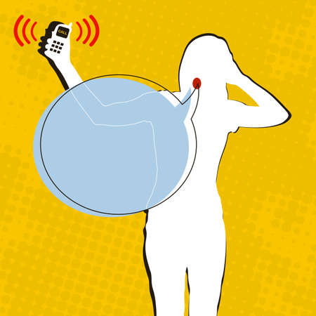 indignation: Woman is indignant, mobile phone is calling
