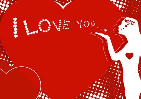 air kiss: Woman sends an air kiss in the form of hearts